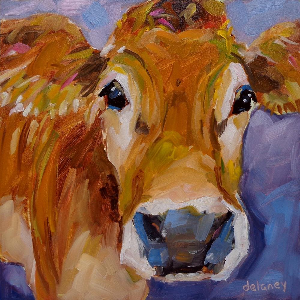 """Cow 128 UNFORGETTABLE"" original fine art by Jean Delaney"