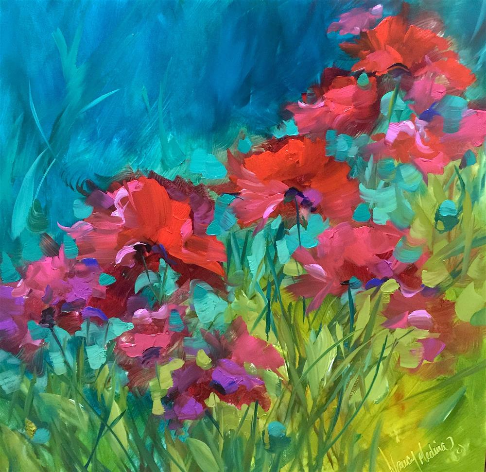 """Poppy Chorus and How to Give Your Flowers Color Power"" original fine art by Nancy Medina"