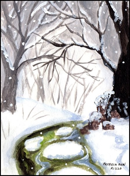 """Winter by the Brook"" original fine art by Patricia Ann Rizzo"