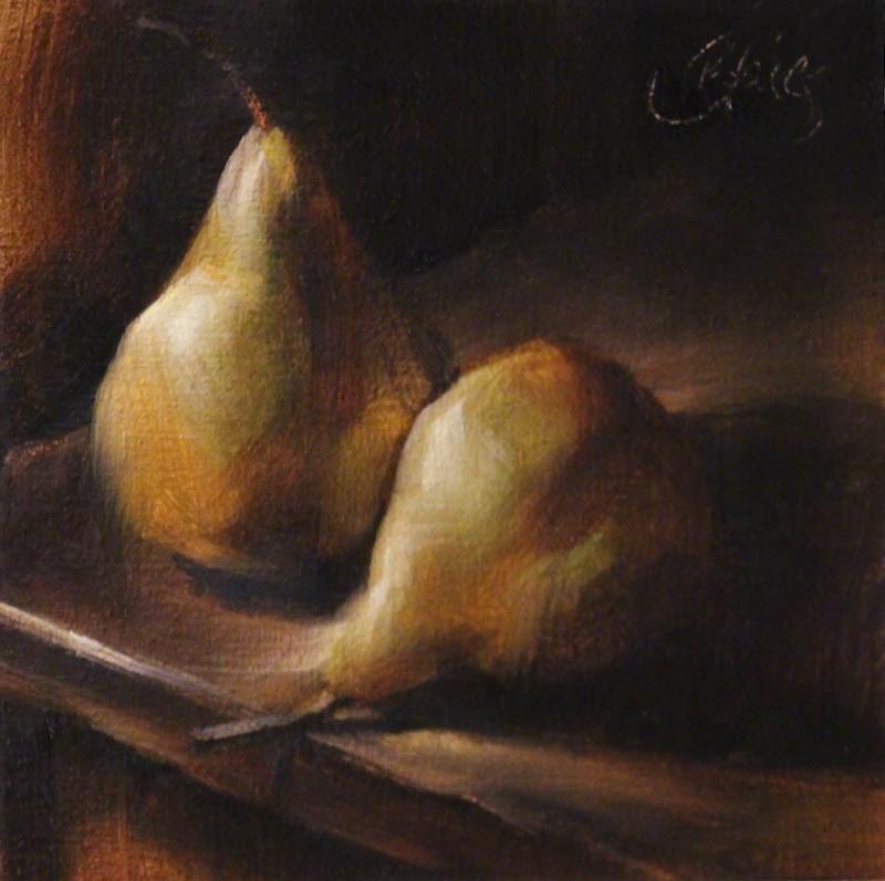 """Pears on a Chair"" original fine art by Pamela Blaies"