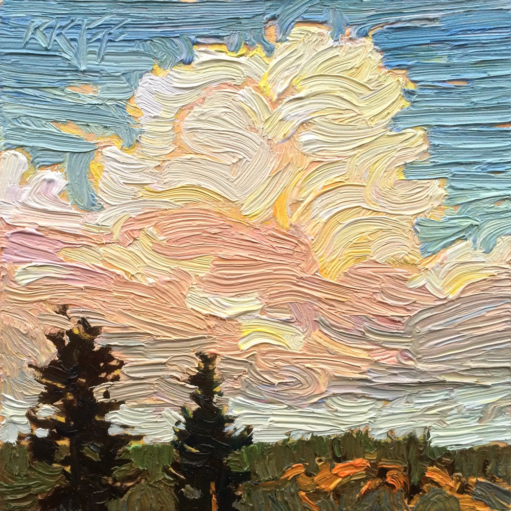 """Hillside Clouds: 6x6 oil on panel"" original fine art by Ken Faulks"