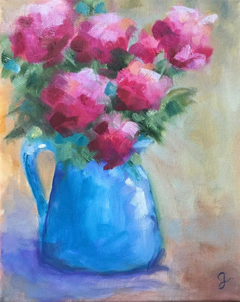 """Roses in Blue"" original fine art by Gayle Lambeth"