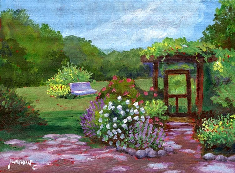 """ORIGINAL PAINTING OF EVERGREEN LAVENDER FARM"" original fine art by Sue Furrow"