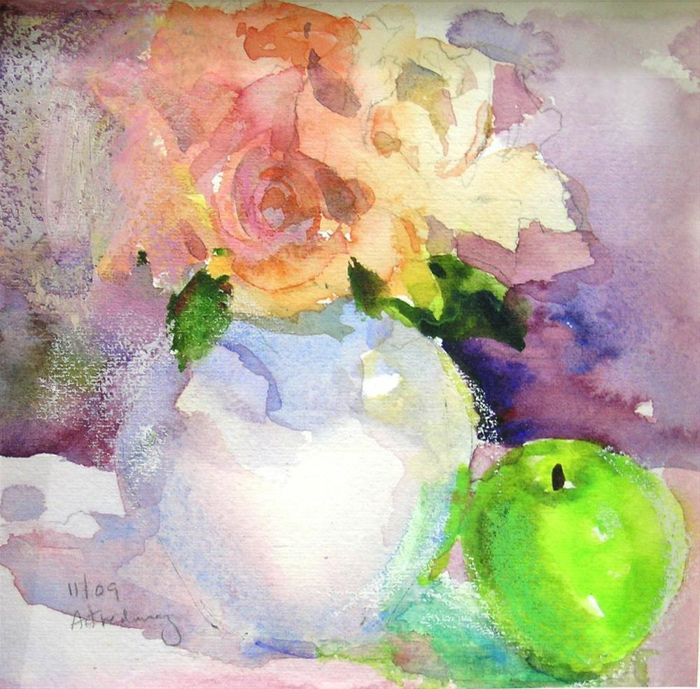 """Roses & Green Apple"" original fine art by alicia tredway"