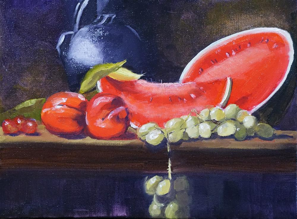 """Still Life with Watermelon"" original fine art by Catherine Van Berg"