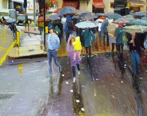 """Rain, Rain and Human Traffic"" original fine art by Adebanji Alade"