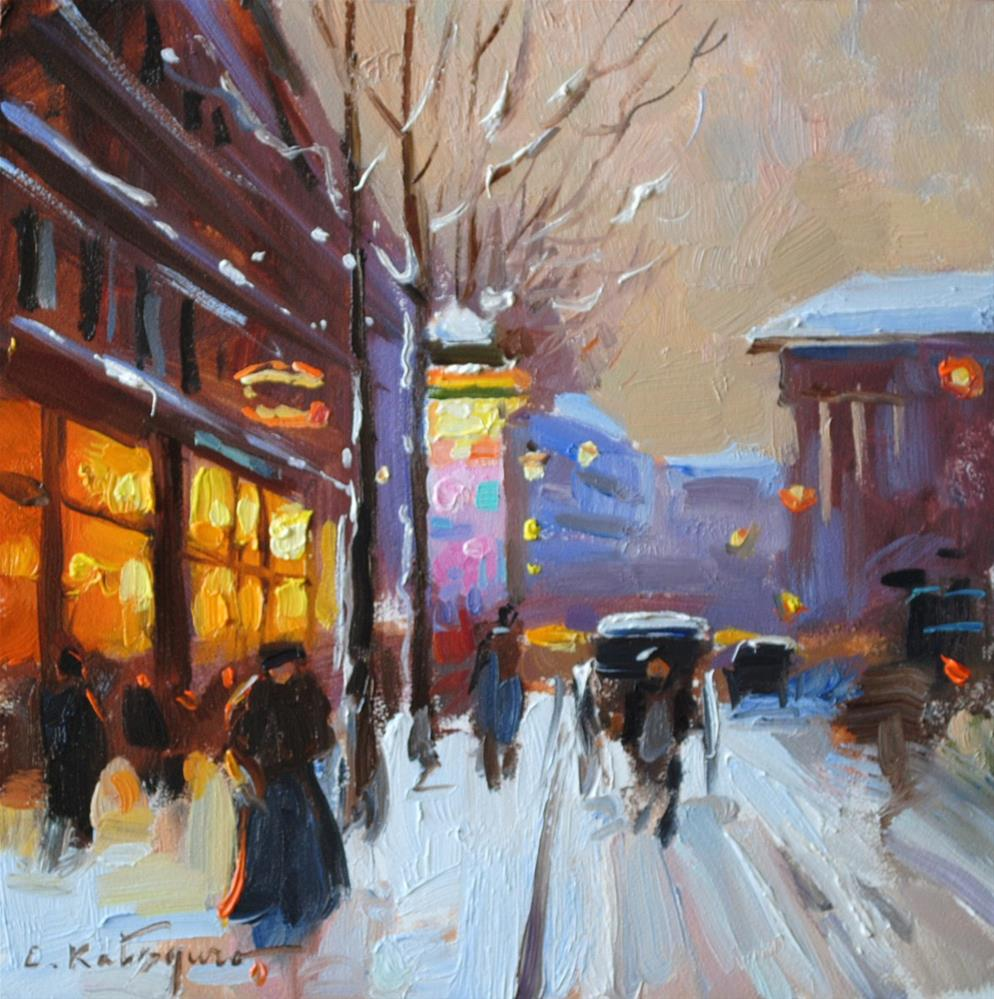 """Winter Evening"" original fine art by Elena Katsyura"