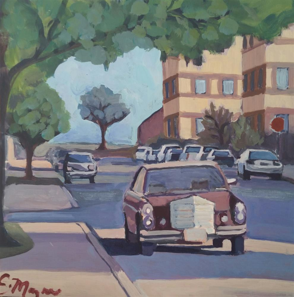 """Old Mercedes near east 45th"" original fine art by Liz Maynes"