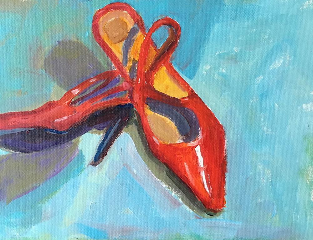 """lady In Red Heels"" original fine art by Marcia Bergtholdt"