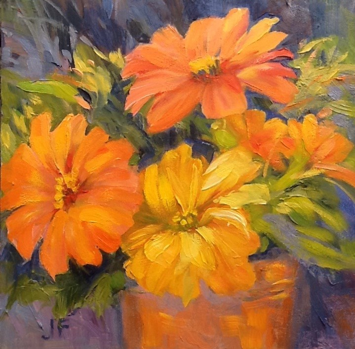 """Summer Zinnias"" original fine art by Jean Fitzgerald"