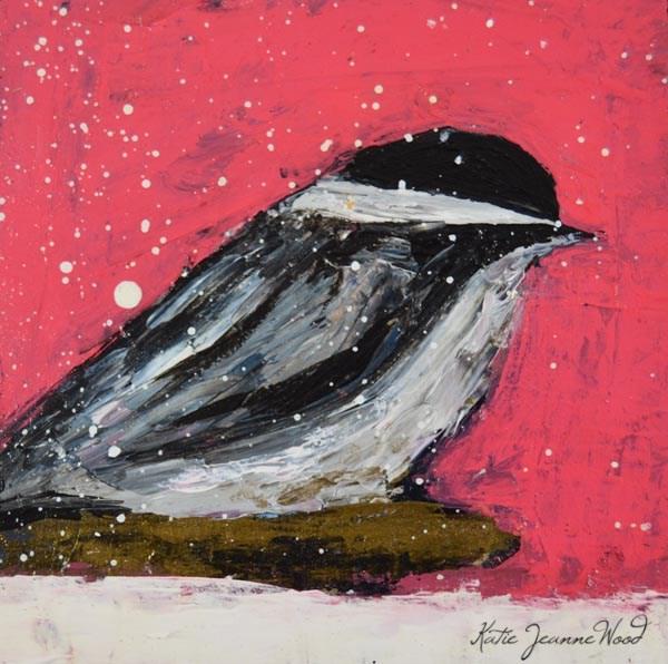"""Pink cottage chic bird painting No 24"" original fine art by Katie Jeanne Wood"