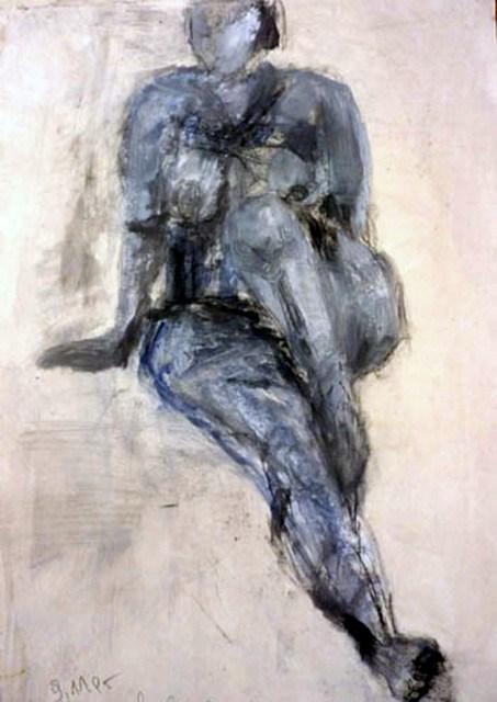 """Frau in blau / woman in blue"" original fine art by Mila Plaickner"