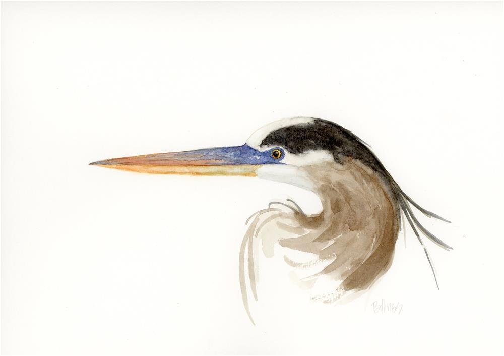 """""""Great Blue Heron Study II"""" original fine art by Susanne Billings"""