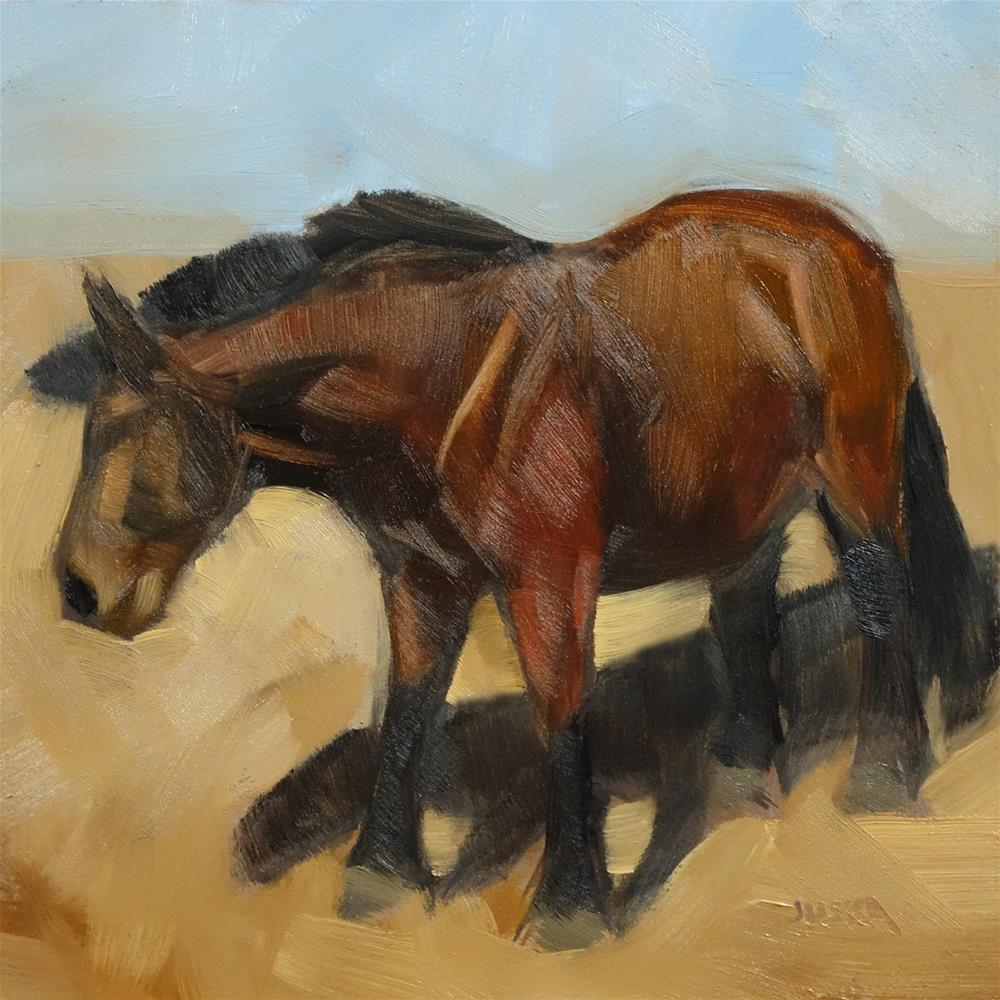 """Study of a Brown Horse in Strong Sunlight"" original fine art by Elaine Juska Joseph"