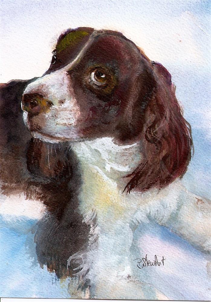 """5x7 English Springer Spaniel Dog Pet Portrait Mixed Media by Penny StewArt"" original fine art by Penny Lee StewArt"