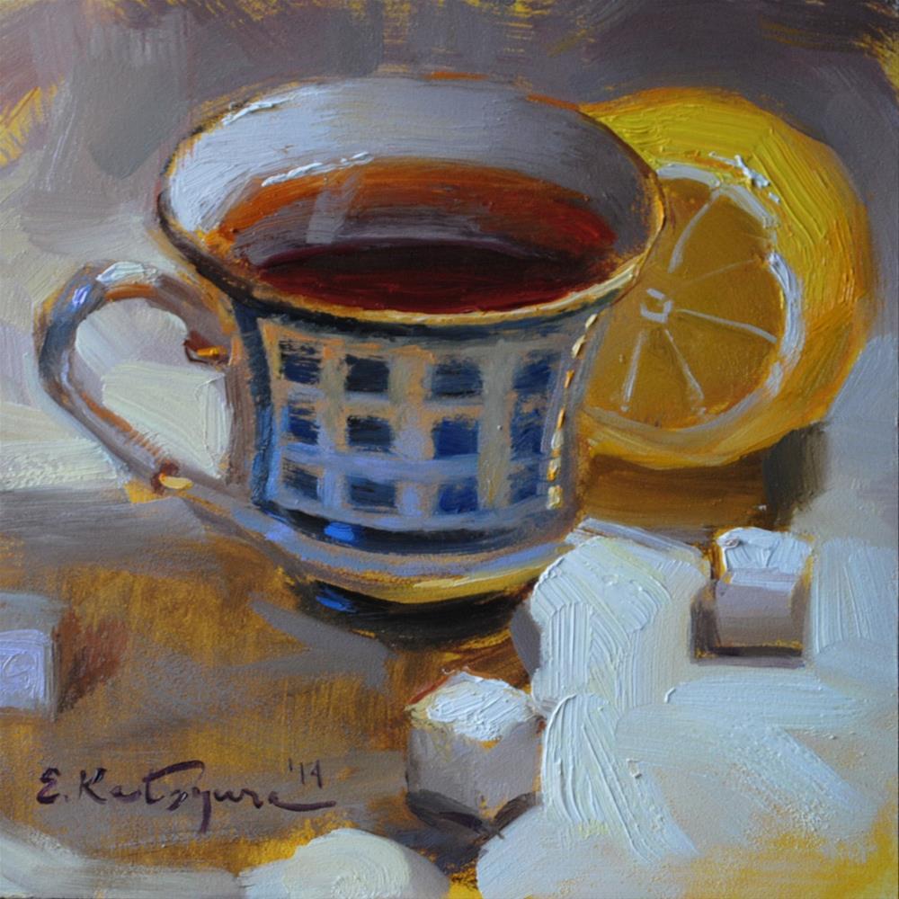 """Blue Cup and Lemon"" original fine art by Elena Katsyura"