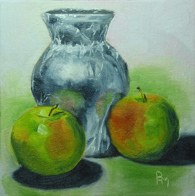 """Foil Wrapped Vase"" original fine art by Patricia Murray"