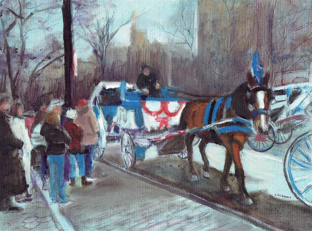 """Waiting for a Horsecart Ride (10.5 x 8.5 oil on canvas sheet - no frame"" original fine art by Ramon DelRosario"