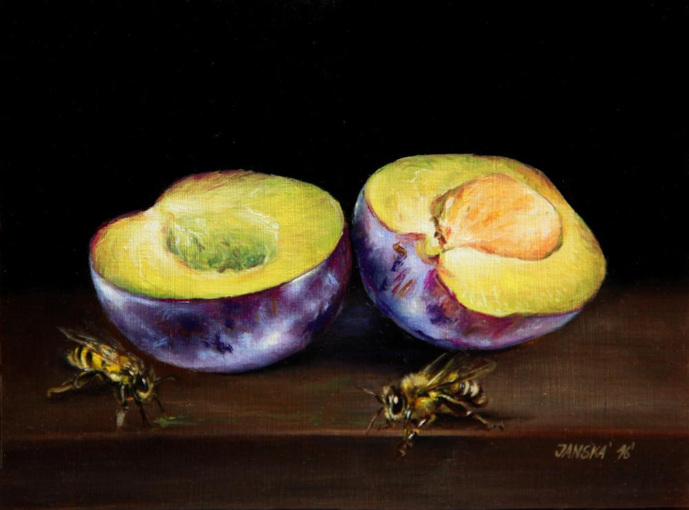 """plums oil painting"" original fine art by Bozena Janska"