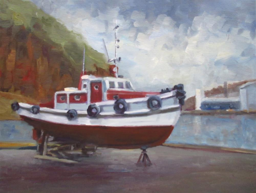 """Léttir the old retired navigation boat"" original fine art by Steinunn Einarsdottir"