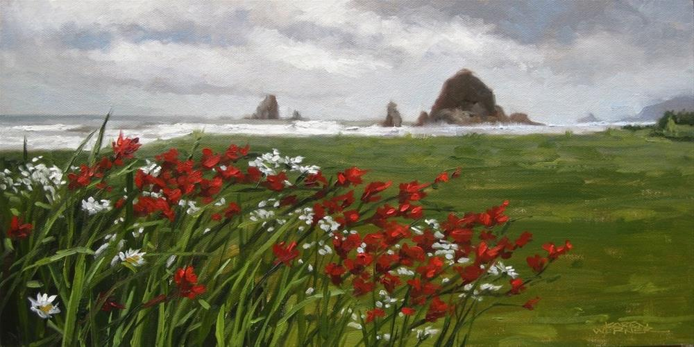 """Haystack Rock View"" original fine art by Karen Werner"