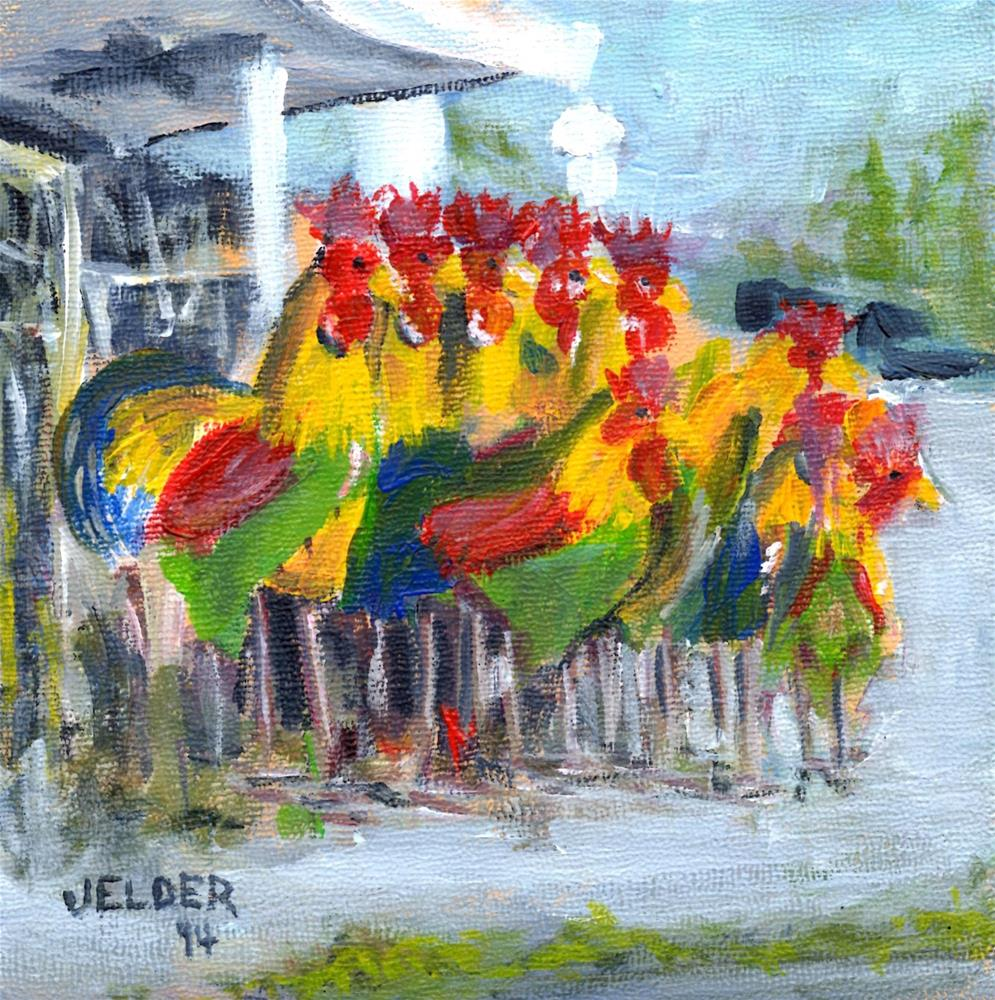 """Roosters at the Corner"" original fine art by Judith Elder"