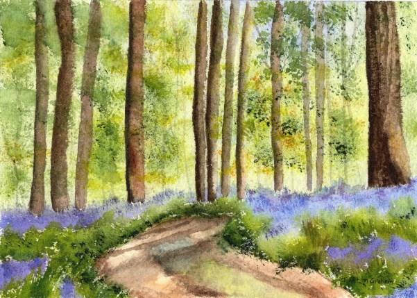 """Bluebell Woodlands"" original fine art by Janet Graham"