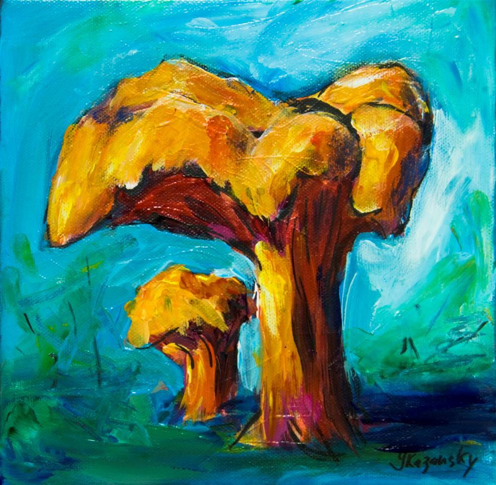 """Chanterelles Mushrooms"" original fine art by Yulia Kazansky"