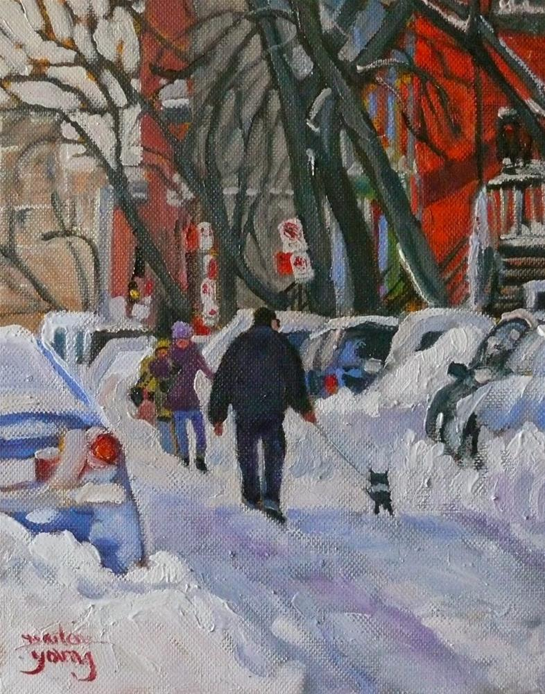 """832 Montreal Winter, Walking the Dog 8x10 oil"" original fine art by Darlene Young"