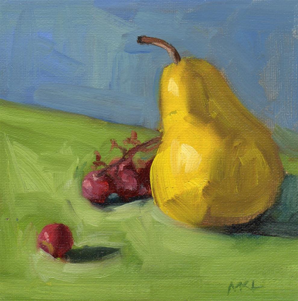 """A Pear with Grapes"" original fine art by Marlene Lee"
