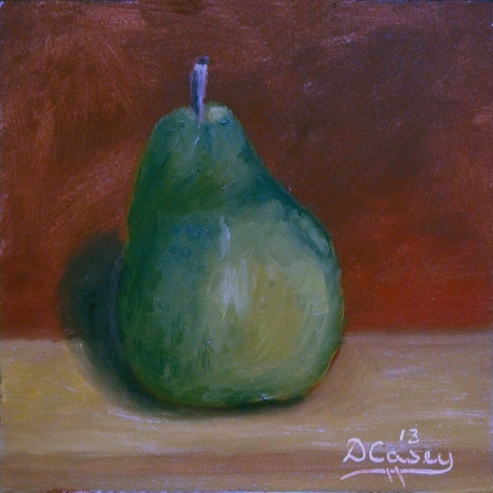 """Day 1 - 30 in 30 Challenge - Green Pear"" original fine art by Dave Casey"