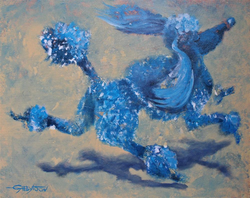 """""""Blue Poodle"""" original fine art by Gabriella DeLamater"""