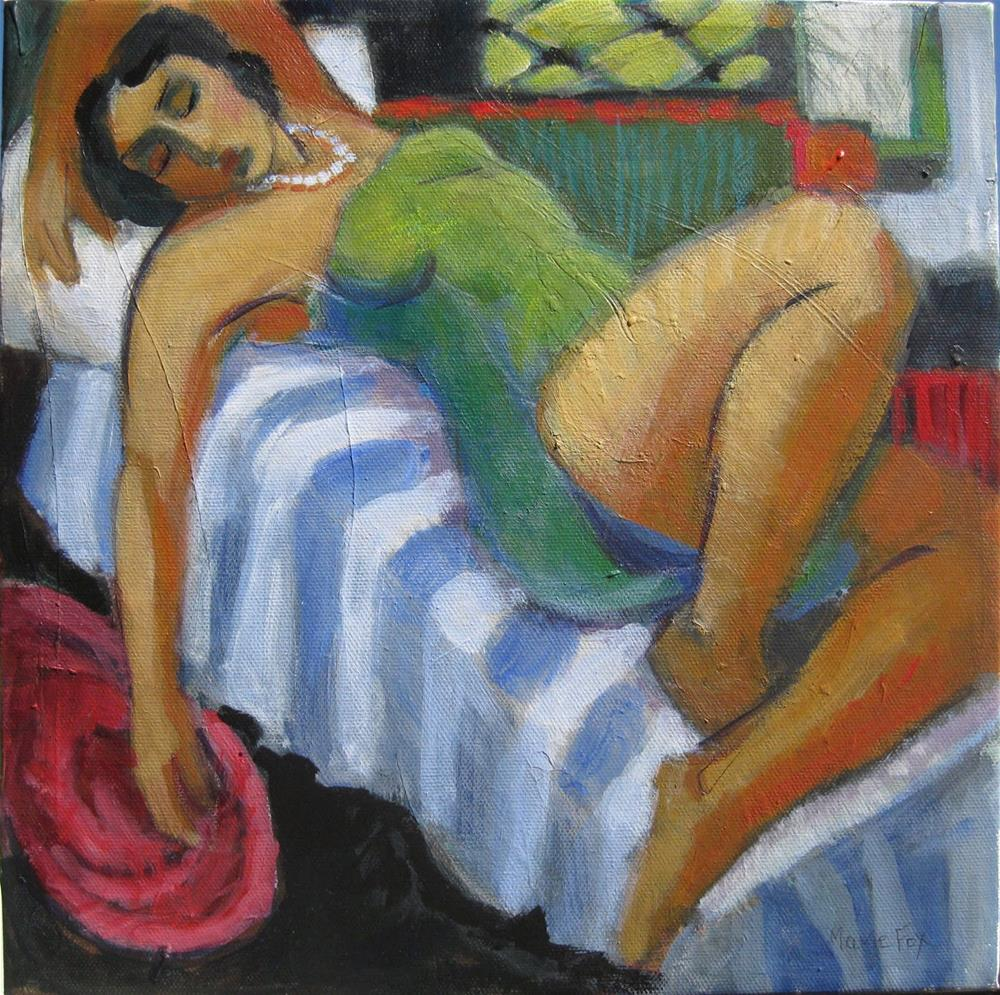 """Sleeping Woman, reclining woman, figuration feminine, female on bed, figure study, contemporary figu"" original fine art by Marie Fox"