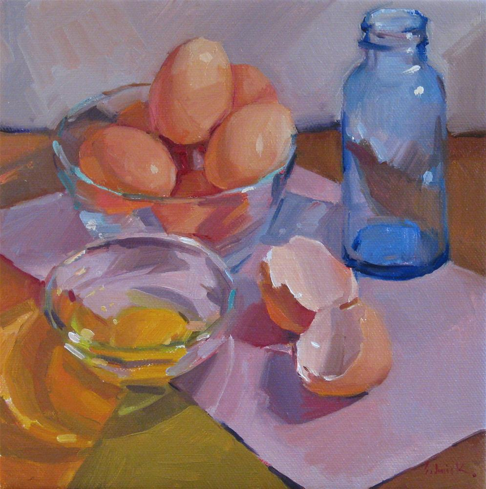 """""""Broken Brown Egg colorful kitchen art still life oil painting and new years resolutions"""" original fine art by Sarah Sedwick"""