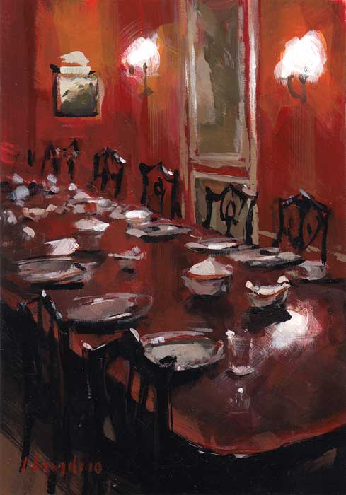 """Red Dining Room"" original fine art by David Lloyd"