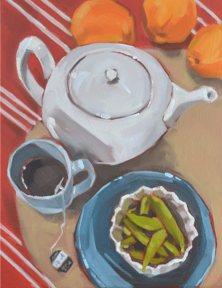 """Tea with a side of peas"" original fine art by Jessica Green"