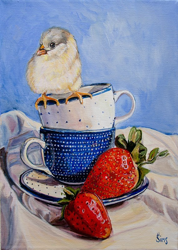 """Strawberries and a Chick: Polish Pottery XCIII"" original fine art by Heather Sims"