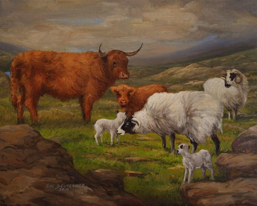 """""""Scottish Highland Cattle and Blackface Sheep"""" original fine art by Sue Deutscher"""