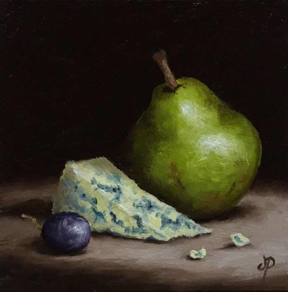 """Pear with Stilton"" original fine art by Jane Palmer"