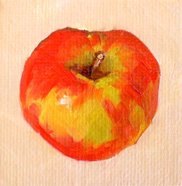 """Honeycrisp, 2x2 Original Oil on Canvas, Still Life Apple Painting"" original fine art by Carmen Beecher"