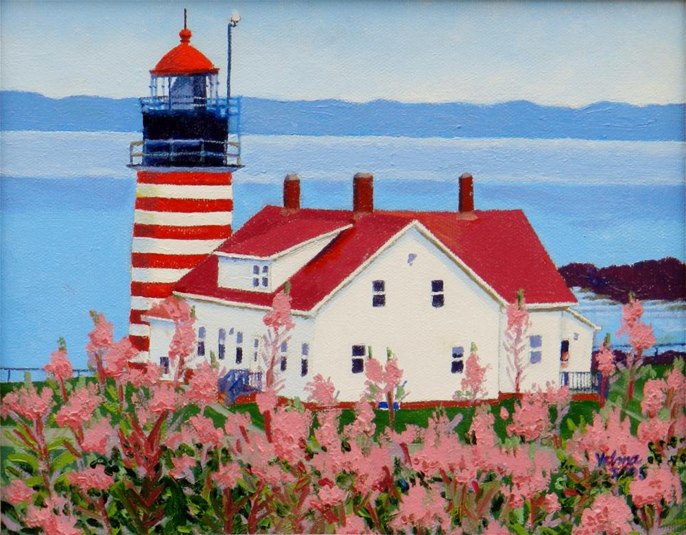 """West Quoddy Head Light"" original fine art by Velma Davies"