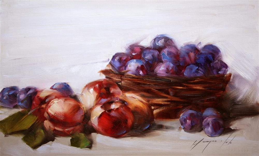 """STILL LIFE WITH PLUMS ORIGINAL OIL PAINTING OIL ON CANVAS GALLERY QUALITY"" original fine art by V Y"