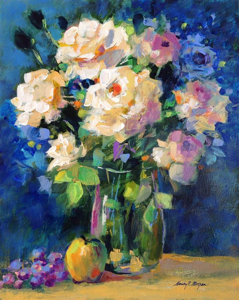 """White Roses With Apple"" original fine art by Nancy F. Morgan"