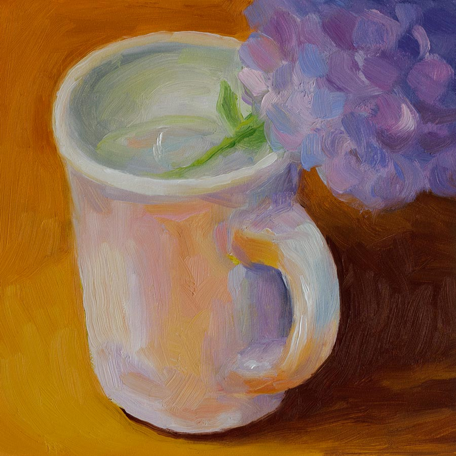 Cup of Hydrangeas original fine art by Jana Bouc