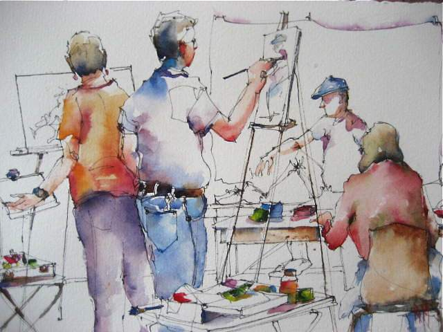 """The Painting Class"" original fine art by Nora MacPhail"