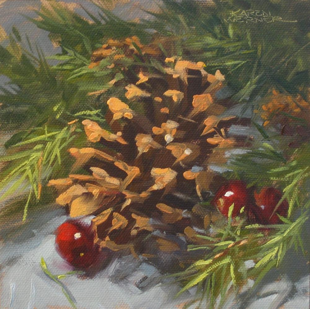 """""""Pine Cone With Cranberries"""" original fine art by Karen Werner"""