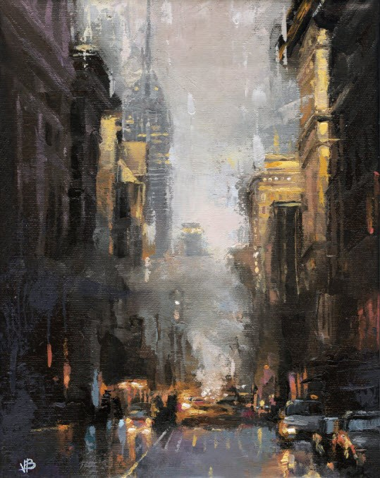 """Broadway & Houston"" original fine art by Victor Bauer"