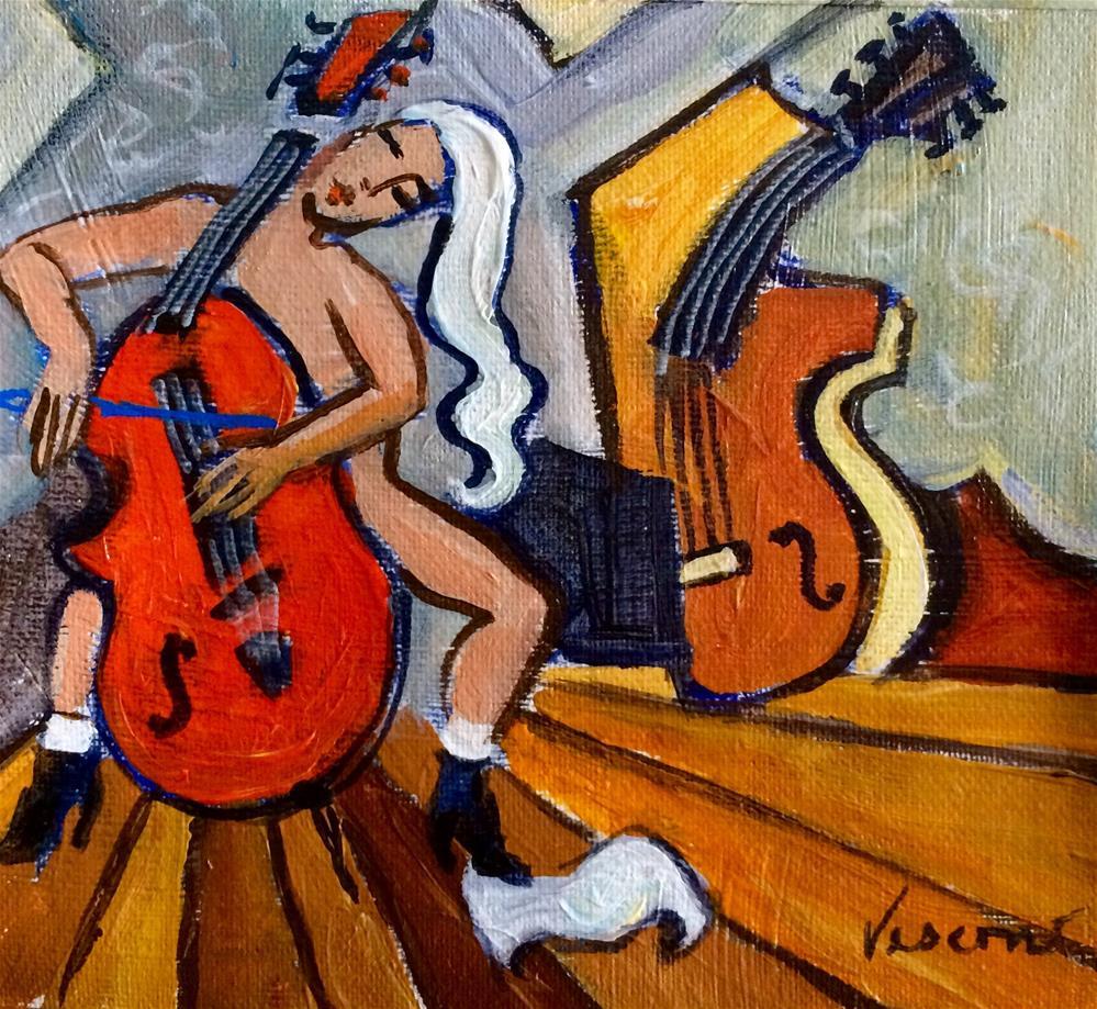 """""""Violoncelle Rouge"""" original fine art by Valerie Vescovi"""