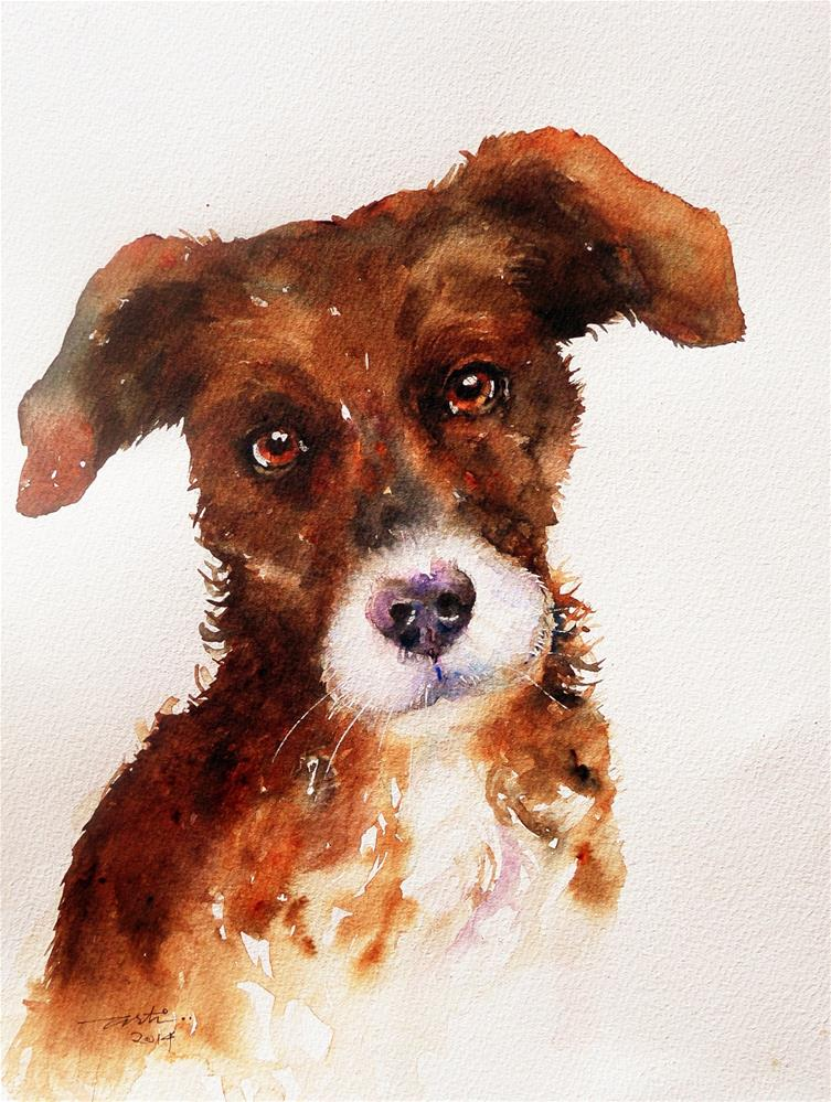 """Chocolate Muffin Dog"" original fine art by Arti Chauhan"