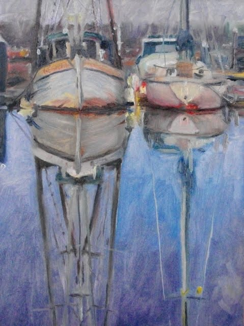 """Two Boats from the Poulsbo Marina, oil marine scape"" original fine art by Robin Weiss"